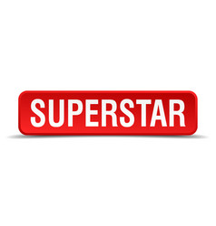 superstar red 3d square button isolated on white vector image vector image