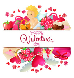 Template with valentines day icons vector