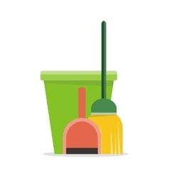Web banner bucket duster broom and dustpan icon vector