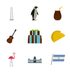 Wild nature of argentina icons set cartoon style vector