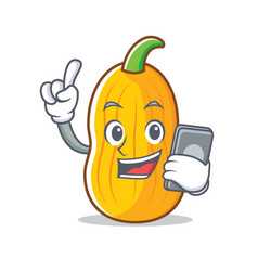 With phone butternut squash character cartoon vector