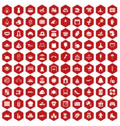 100 motherhood icons hexagon red vector