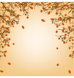Tree branches and orange leaves vector