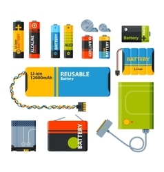 Group of different batteries icons vector