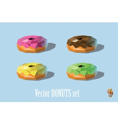 Set of donuts chocolate strawberry mint mellon vector