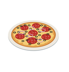 pizza in isometric 3d style tasty pizza on the vector image