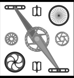 multispeed bmx bike brake parts pedals peg gears vector image