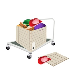 Pallet truck loading hats in shipping box vector