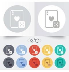 Casino sign icon playing card with dice symbol vector