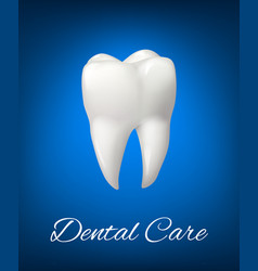 3d white tooth for dental care design vector
