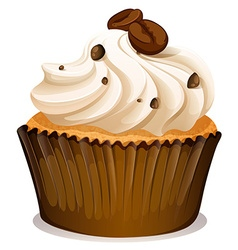 Chocolate topping cupcake on white vector