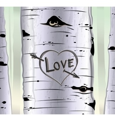 Birch tree card with heart and carved text love vector