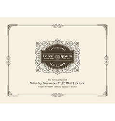 Vintage wedding invitation card frame template vector