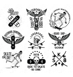 Skateboard skeleton design elements vector