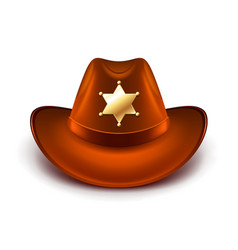 Cowboy hat with sheriff badge isolated vector