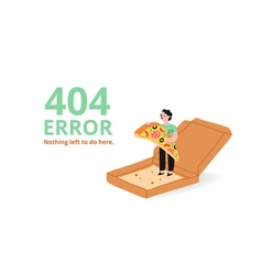 Error page with a pizza vector