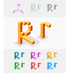 Isometric font from the cubes Letter R vector image