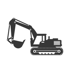 Hydraulic excavator icon under construction vector