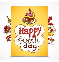 Birthday card sketch vector image