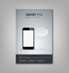 Brochures book or flyer with smart phone template vector image