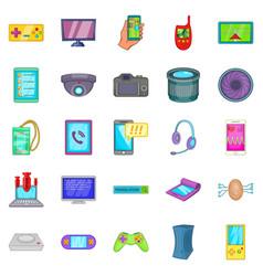 Cellular phone icons set cartoon style vector