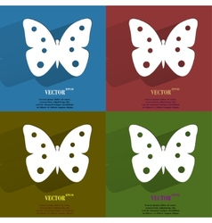 Color set butterfly Flat modern web button with vector image