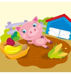 Cute pig lies in puddle vector