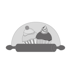 Delicious cupcake menu icon vector