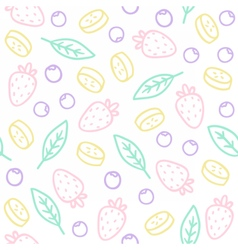 Doodle fruits berries leafs Seamless pattern vector image vector image