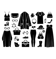 Fashion icons clothing and accessories vector
