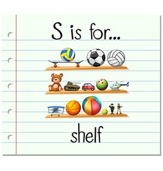 Flashcard alphabet s is for shelf vector