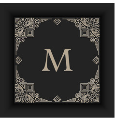 floral and geometric monogram frame vector image