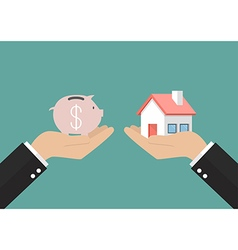 Hands with house and piggy bank vector image