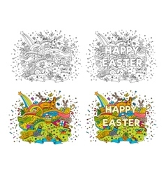 Happy Easter doodle vector image vector image