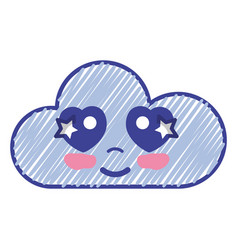 Kawaii nice tender cloud emoji vector