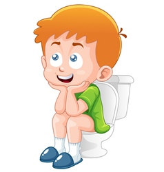 Little boy is sitting on the toilet vector image vector image