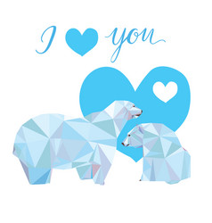 low poly polar bears sitting on ice and looking vector image vector image