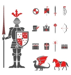 Medieval knights black red icons set vector