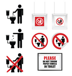 no throw paper towels in toilet sign set vector image