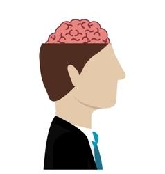 open head with brain vector image