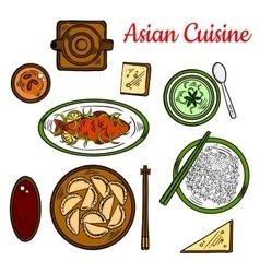 Popular thai dinner for asian cuisine design vector