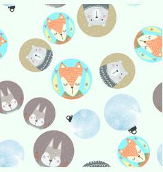 Seamless pattern with gray rabbit fox polar bear vector