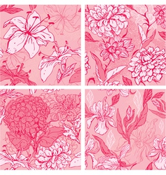 Set of 4 Floral Seamless Patterns in pink colors w vector image vector image