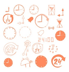 set of sketch time icons vector image