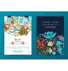 Set of two sea life poster templates vector