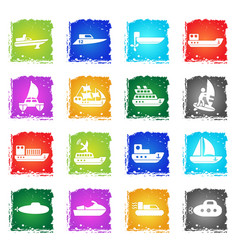 Ships yachts and boats icons set vector