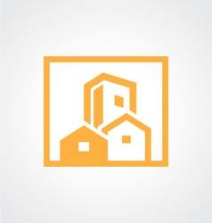 Square building cityscape icon logo vector