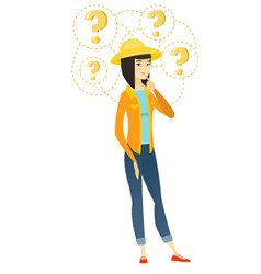 thinking farmer with question marks vector image vector image