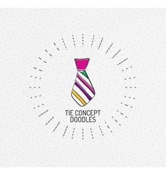 Tie concept multicolored hand-drawn doodles vector image vector image