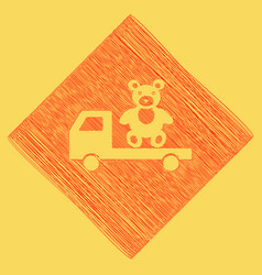 Truck with bear red scribble icon vector